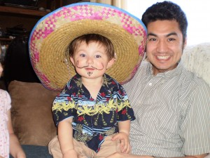 Both my boys with their mexi staches.  This was at Dallin and Derek's mexican luau.