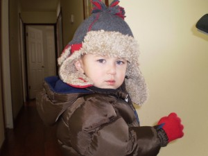Noah bundled up